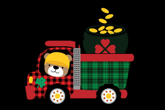 Print on Demand: St Patrick's Day Bear Dump Truck Clipart Graphic Logos By SunandMoon
