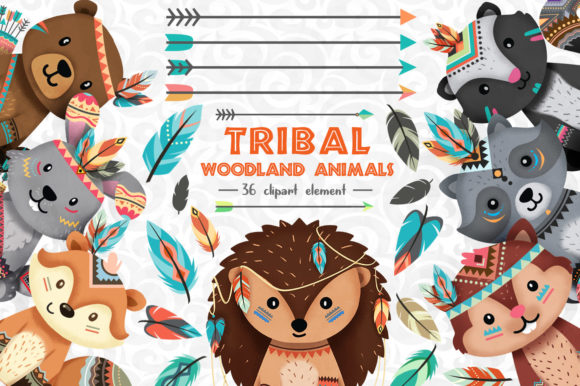Print on Demand: Tribal Woodland Animal Clipart Set 1 Grafik Illustrationen von accaliadigital