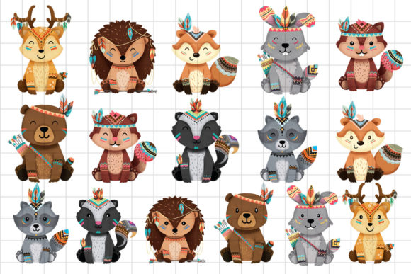 Print on Demand: Tribal Woodland Animal Clipart Set 1 Graphic Illustrations By accaliadigital - Image 2
