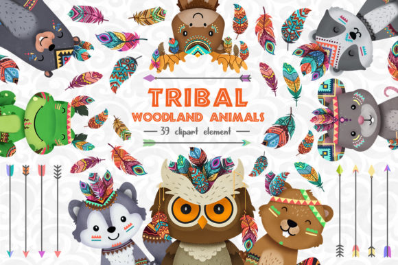 Print on Demand: Tribal Woodland Animal Clipart Set 2 Gráfico Ilustraciones Por accaliadigital