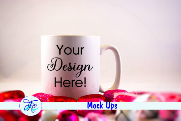 Valentines Cup Mock Up with Hearts Graphic Product Mockups By Family Creations