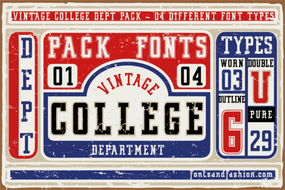 Print on Demand: Vintage College Slab Serif Schriftarten von Fontsandfashion