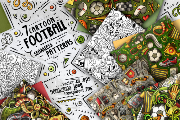 7 Soccer Doodle Seamless Patterns Graphic Patterns By BalabOlka