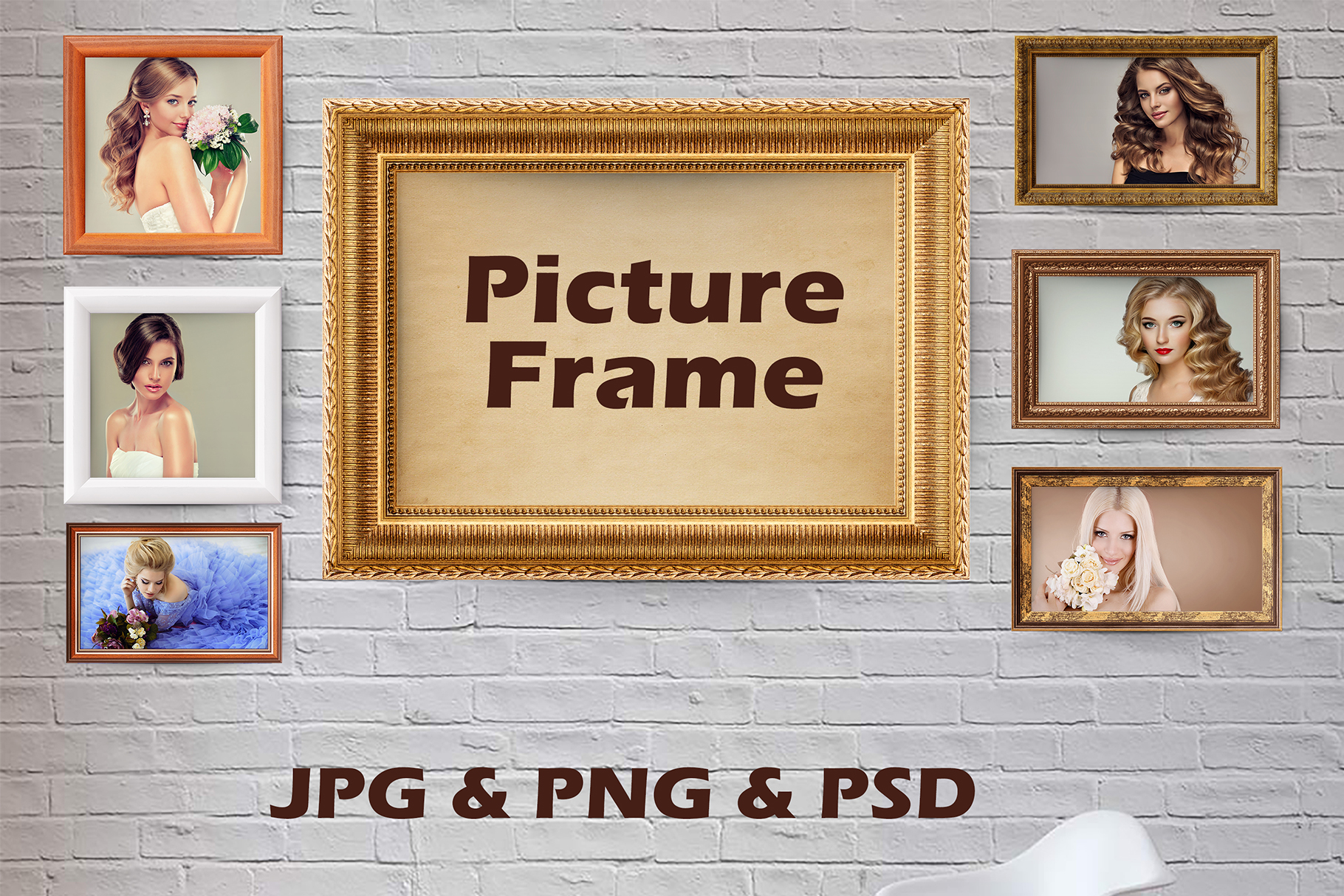 Download Free 7 Wooden Picture Frames Golden Frame Graphic By Impresstore for Cricut Explore, Silhouette and other cutting machines.