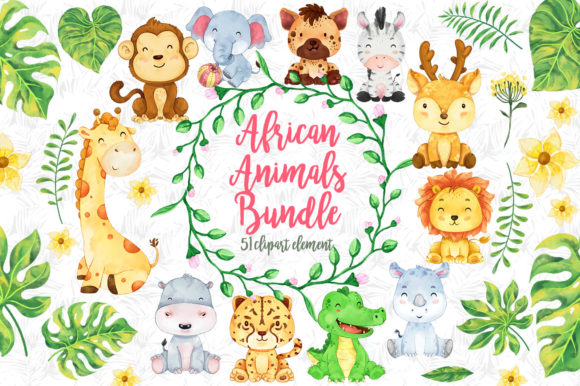 Print on Demand: African Animals Clipart Bundle Gráfico Ilustraciones Por accaliadigital
