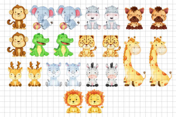 Print on Demand: African Animals Clipart Bundle Graphic Illustrations By accaliadigital - Image 2