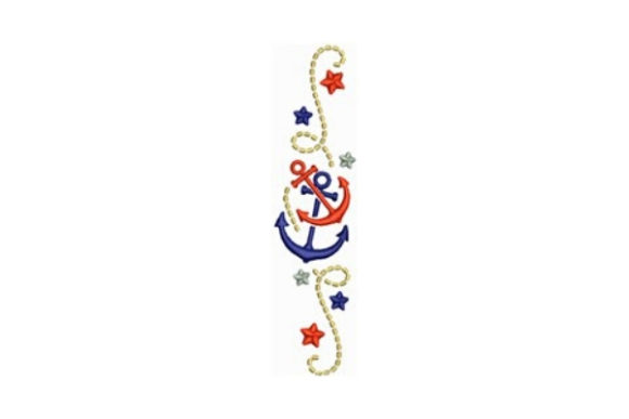 Anchors Border Beach & Nautical Embroidery Design By designsbymira