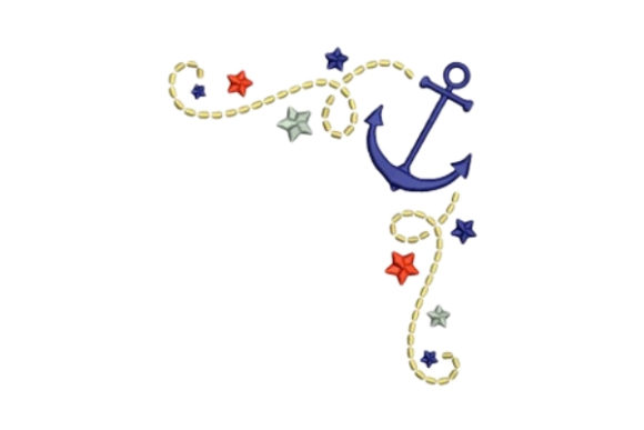 Anchors Corner Beach & Nautical Embroidery Design By designsbymira - Image 1