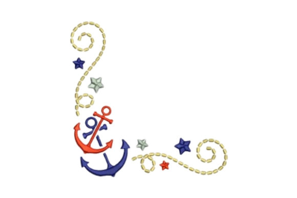 Anchors Corner Beach & Nautical Embroidery Design By designsbymira