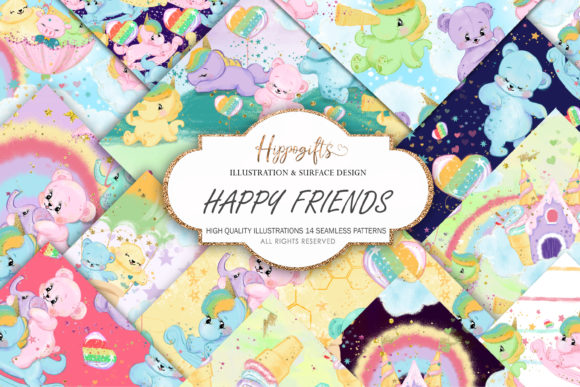 Bear and Unicorn Patterns Grafik Muster von Hippogifts
