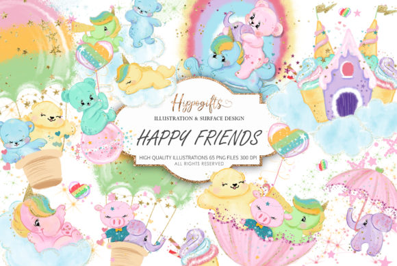 Bear and Unicorns Clip Arts Graphic Illustrations By Hippogifts - Image 1