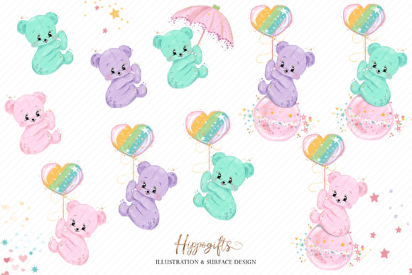 Bear and Unicorns Clip Arts Graphic Illustrations By Hippogifts - Image 2