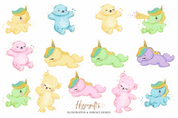 Bear and Unicorns Clip Arts Graphic Illustrations By Hippogifts - Image 3