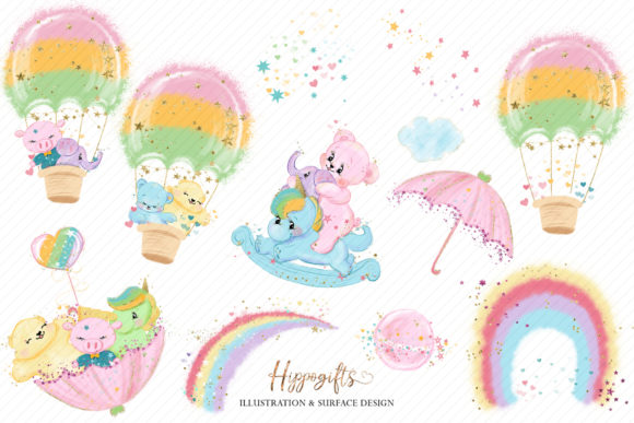 Bear and Unicorns Clip Arts Graphic Illustrations By Hippogifts - Image 5