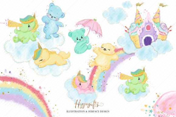 Bear and Unicorns Clip Arts Graphic Illustrations By Hippogifts - Image 7