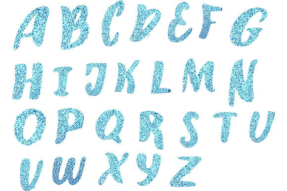 Print on Demand: Blue Glitter Alphabets Graphic Web Elements By arts4busykids
