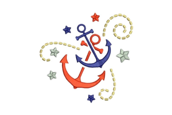 Boat Anchors Beach & Nautical Embroidery Design By designsbymira