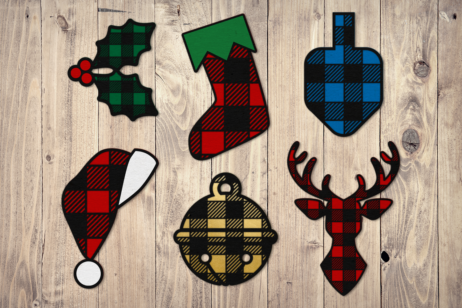 Download Free Buffalo Plaid Christmas Icon Set Graphic By Risarocksit for Cricut Explore, Silhouette and other cutting machines.