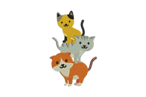 Cats Cats Embroidery Design By designsbymira
