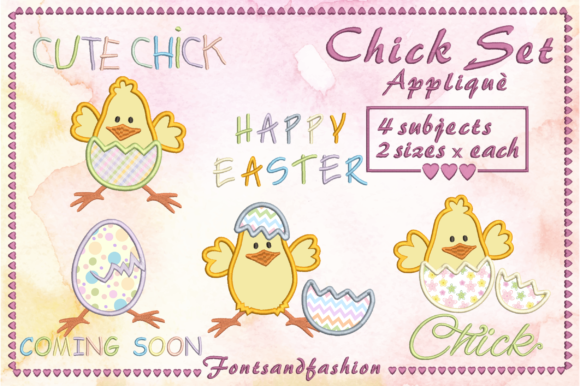 Chick Set Appliquè Easter Embroidery Design By Fontsandfashion - Image 1