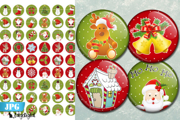 Print on Demand: Christmas Printable Bottle Cap Images Graphic Crafts By CatgoDigital