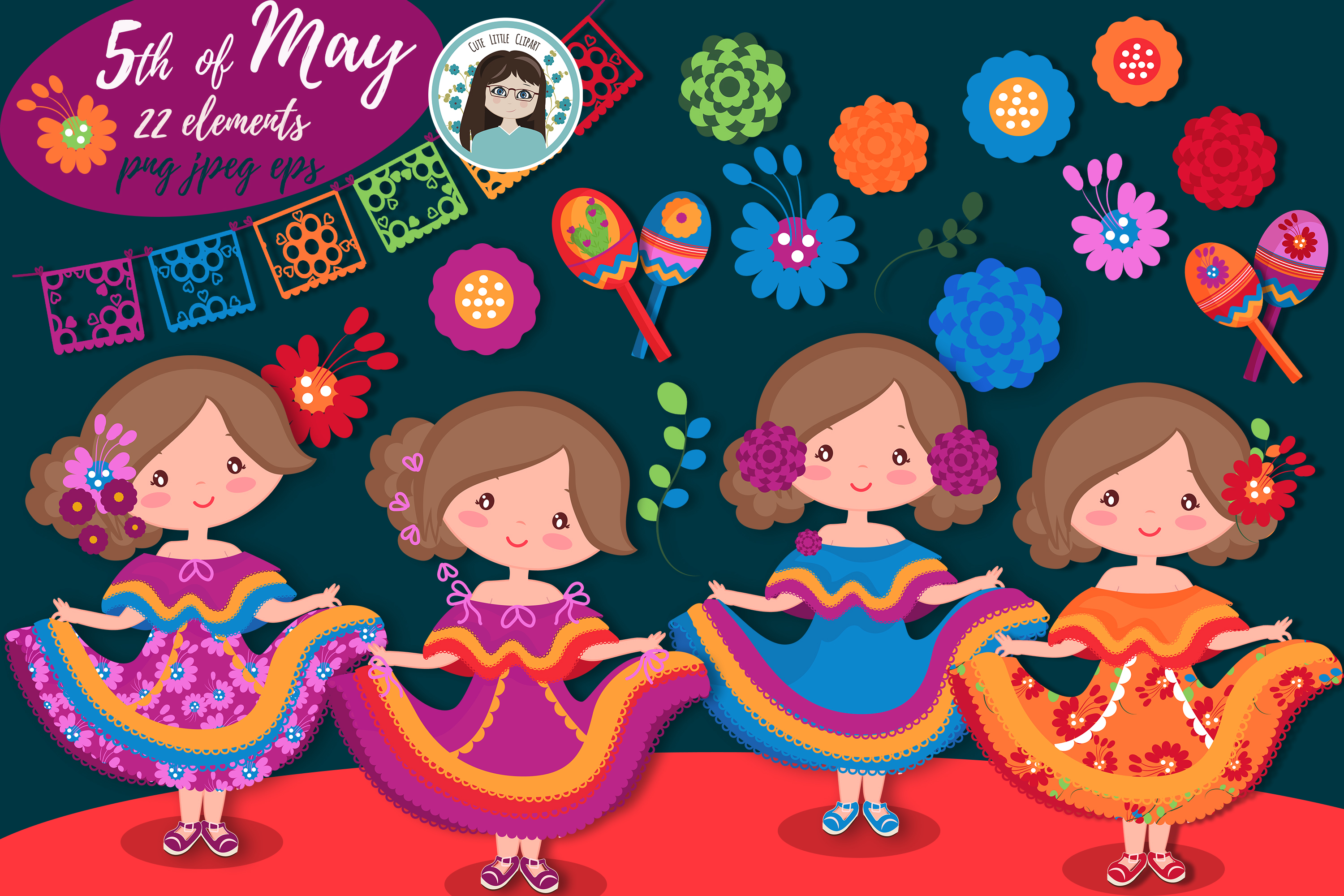 Download Free Cinco De Mayo Cliparts Graphic By Cutelittleclipart Creative for Cricut Explore, Silhouette and other cutting machines.