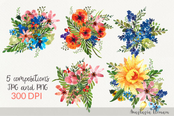 Composition Flower Power 5 Isolated Graphic Illustrations By anes_art