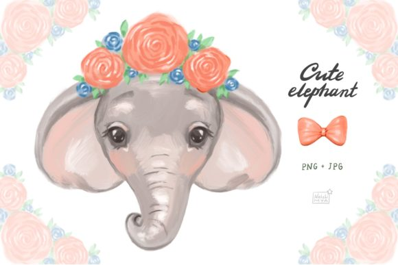 Cute Elephant Cliparts Graphic Illustrations By NataliMyaStore