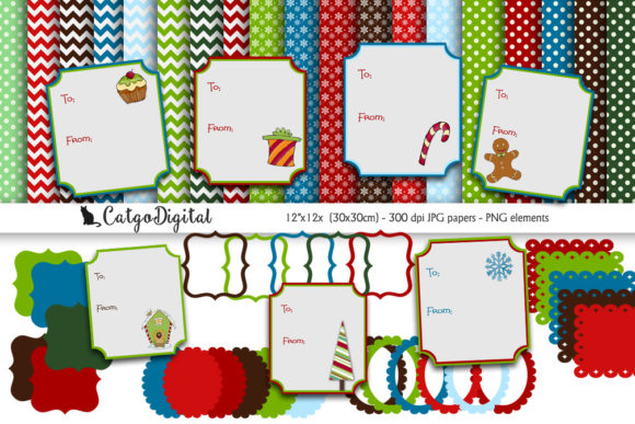Download Free Digital Christmas Scrapbooking Pack Graphic By Catgodigital for Cricut Explore, Silhouette and other cutting machines.