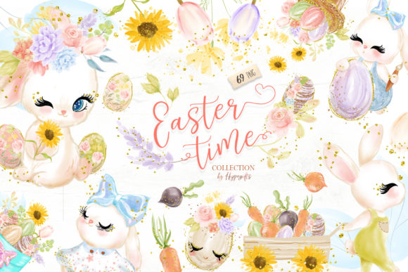 Easter Bunny Clipart Graphic Illustrations By Hippogifts