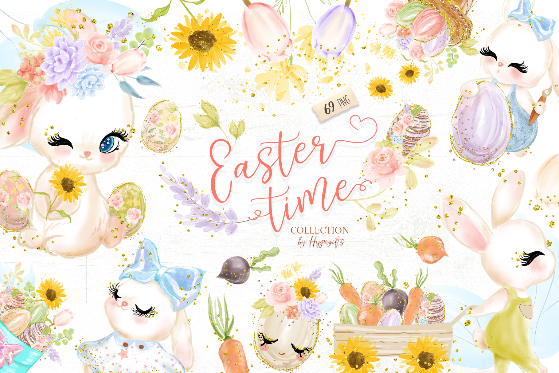 Download Free Easter Bunny Clipart Graphic By Hippogifts Creative Fabrica for Cricut Explore, Silhouette and other cutting machines.