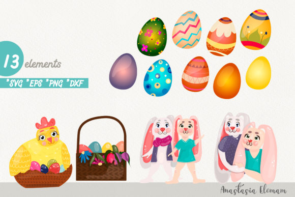 Download Free Easter Eggs Hunt Clipart Bunnies Graphic By Anes Art Creative for Cricut Explore, Silhouette and other cutting machines.