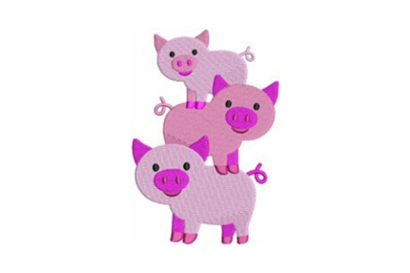 Farm Pigs Baby Animals Embroidery Design By designsbymira - Image 1
