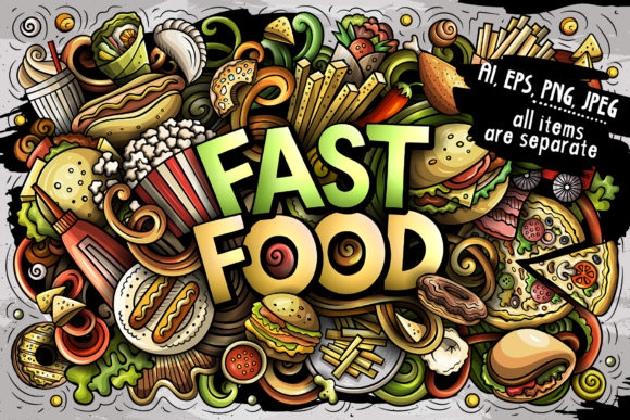 Fast Food Cartoon Doodles Illustration Graphic Illustrations By BalabOlka