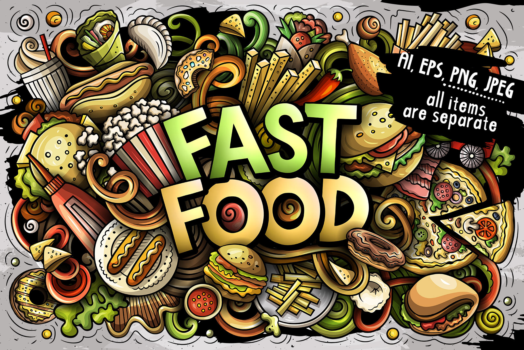 Download Free Fast Food Cartoon Doodles Illustration Graphic By Balabolka for Cricut Explore, Silhouette and other cutting machines.