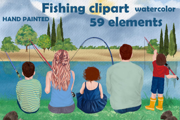 Fishing Clipart, Family Fishing Gráfico Ilustraciones Por LeCoqDesign