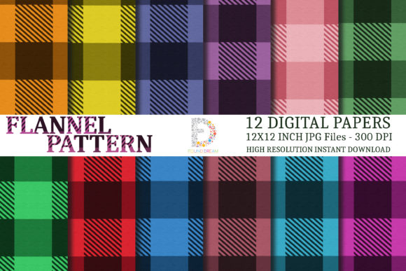 Flannel Digital Papers Graphic Patterns By FounDream