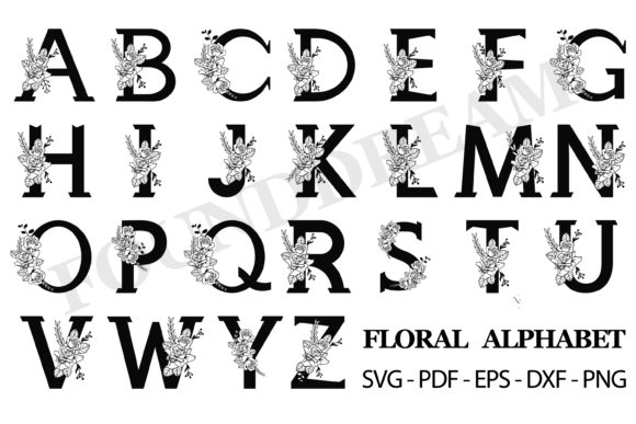 Print on Demand: Floral Alphabet Graphic Crafts By FounDream