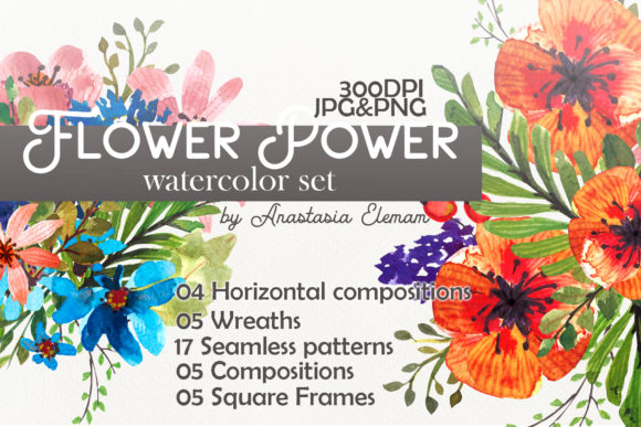 Flower Power Watercolor Pack Set Graphic Illustrations By ko.anastasia