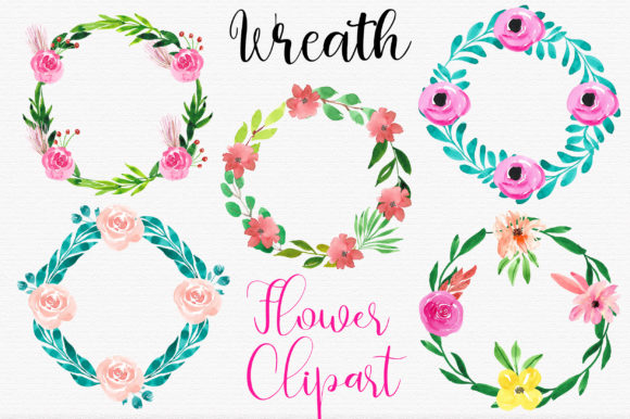 Download Free Flower Watercolor Wreaths Clipart Graphic By Pinkpearly for Cricut Explore, Silhouette and other cutting machines.
