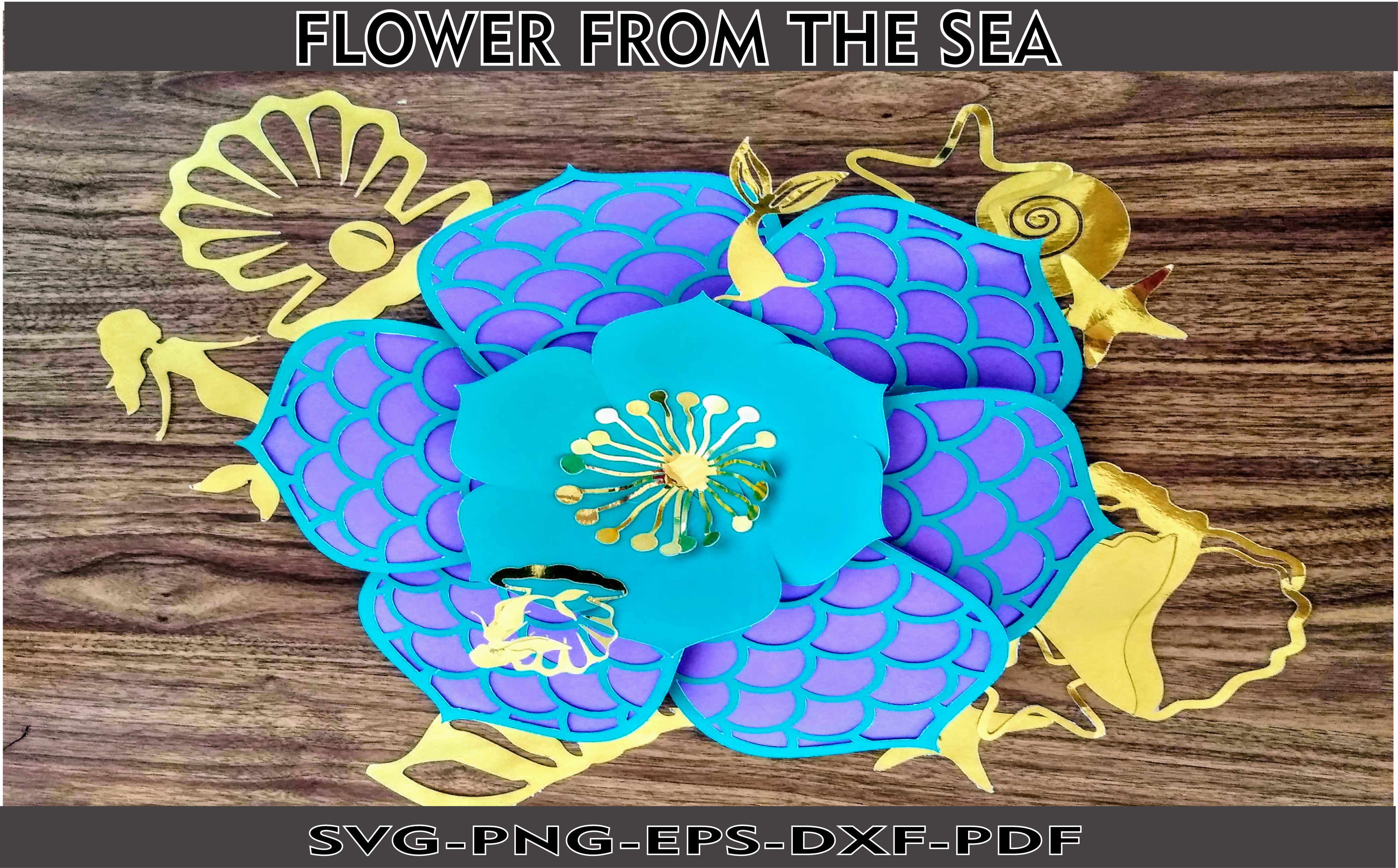 Download Free Flower From Under The Sea Template Graphic By Mar De Andalucia for Cricut Explore, Silhouette and other cutting machines.
