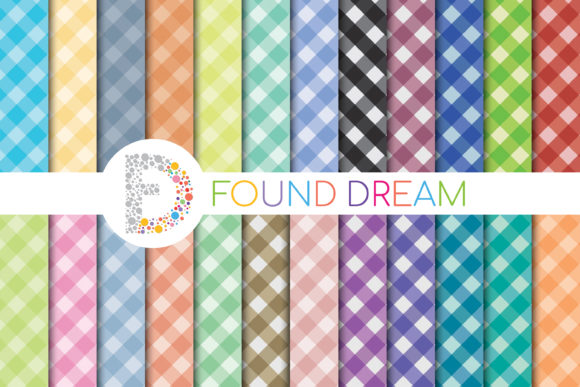 Print on Demand: Gingham Digital Paper Pack Graphic Patterns By FounDream