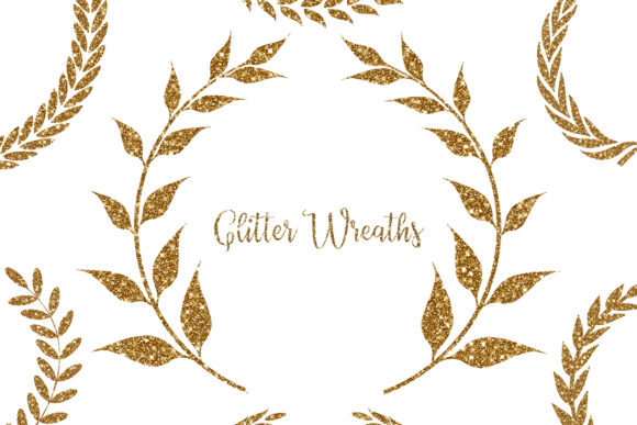 Download Free Glitter Wreaths Clipart Glitter Frame Graphic By Bonadesigns for Cricut Explore, Silhouette and other cutting machines.