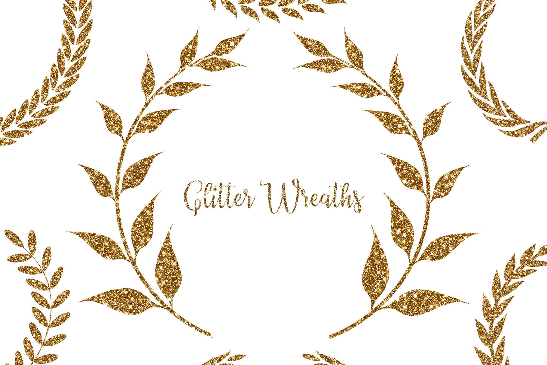 Download Free Glitter Wreaths Clipart Glitter Frame Graphic By Bonadesigns Creative Fabrica for Cricut Explore, Silhouette and other cutting machines.