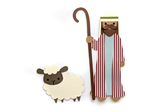 Download Free Good Shepherd With Sheep Graphic By Risarocksit Creative Fabrica for Cricut Explore, Silhouette and other cutting machines.