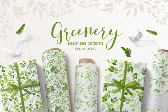 Print on Demand: Greenery Seamless Patterns Graphic Patterns By Nata Art Graphic