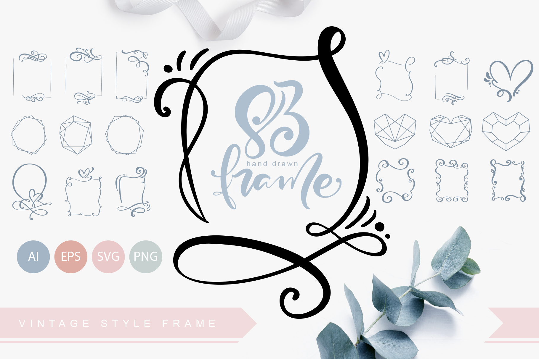 Download Free Hand Drawn Vintage Frames Graphic By Happy Letters Creative for Cricut Explore, Silhouette and other cutting machines.