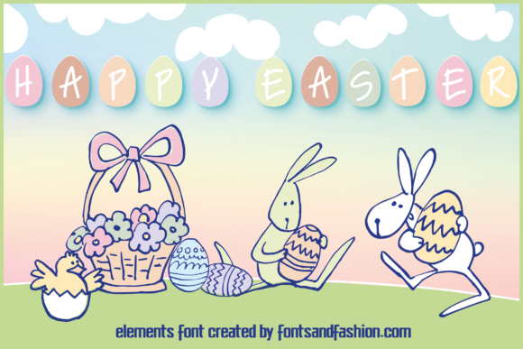 Print on Demand: Happy Easter Dingbats Font By Fontsandfashion - Image 1