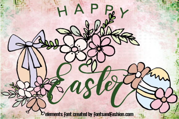 Print on Demand: Happy Easter Dingbats Font By Fontsandfashion - Image 3