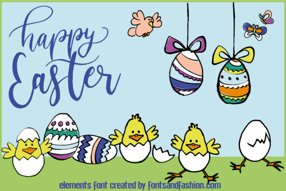 Print on Demand: Happy Easter Dingbats Font By Fontsandfashion - Image 4